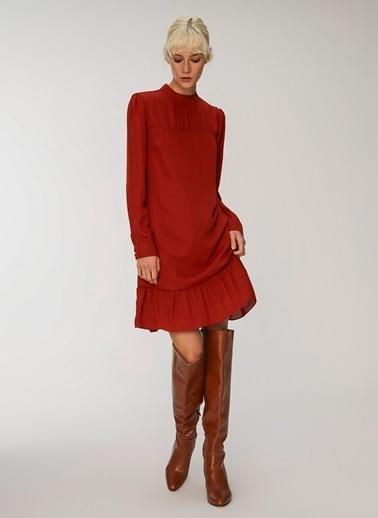 People By Fabrika Roba Detaylı Mini Elbise Kiremit